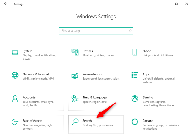 The Search category from the Windows 10 Settings