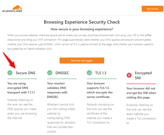 The message you get from Cloudflare when you're using DNS over HTTPS