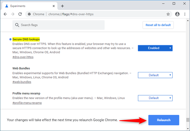 DNS over HTTPS is enabled in Google Chrome