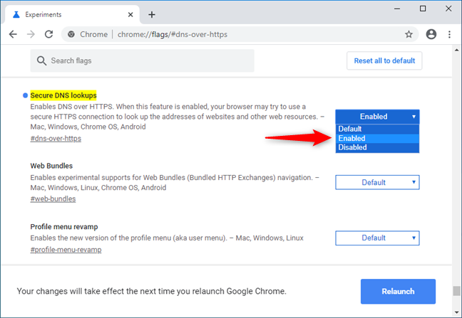 Enabling the Secure DNS lookups in Google Chrome