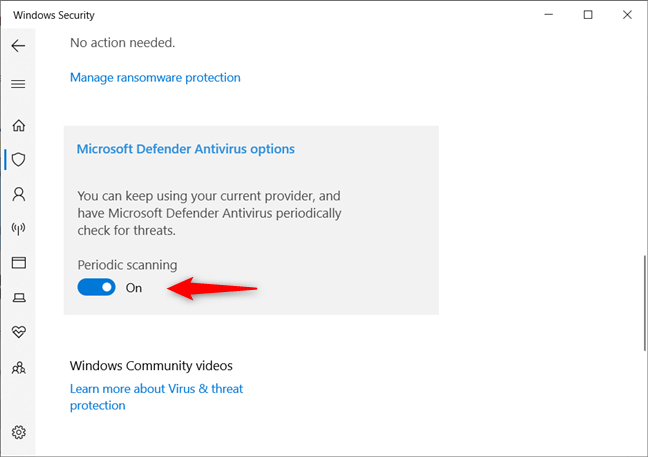 Periodic scanning enabled for Windows 10's Microsoft Defender Antivirus