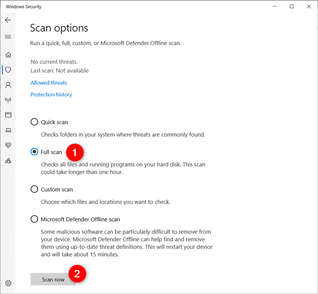 All the scanning options offered by the default antivirus in Windows Security