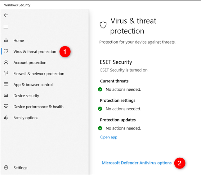 Virus & threat protection options in Windows 10
