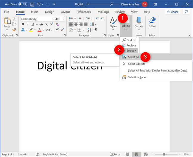 Selecting All text in Word