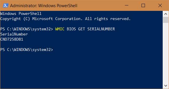 Windows, serial number