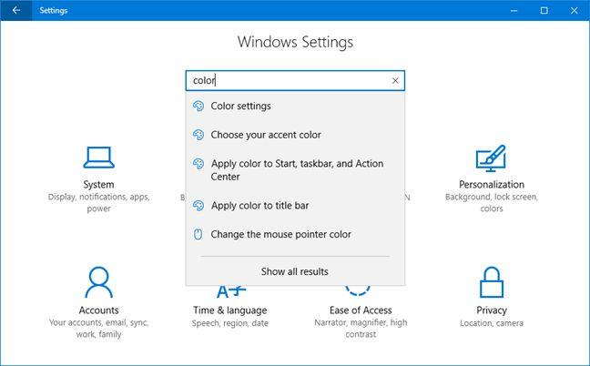 Windows 10, Settings, app, features