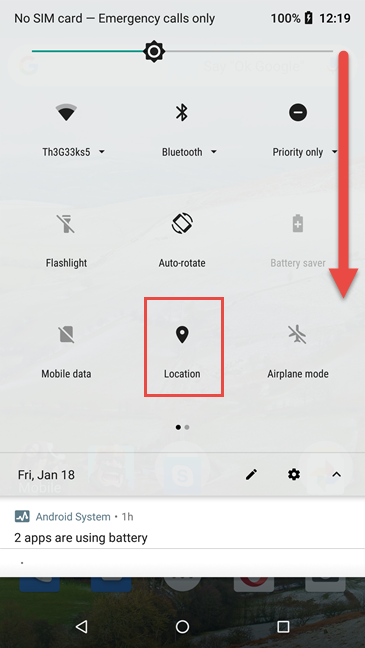Activating Location in Android's quick settings