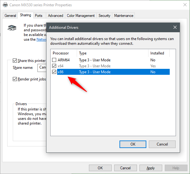 Choosing what additional drivers you want to install for the shared printer