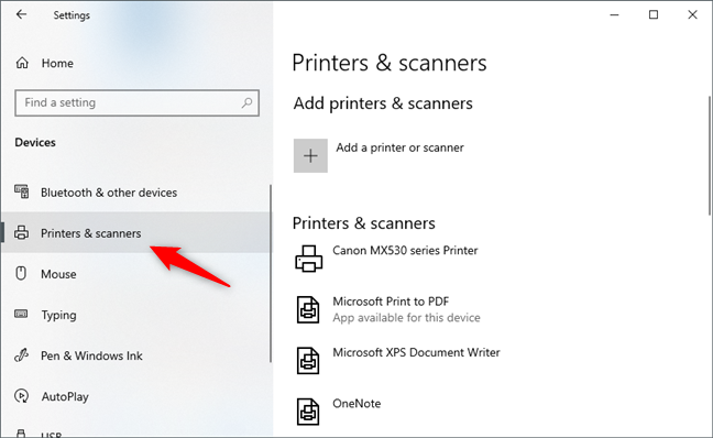 The Printers & scanners section from the Settings app