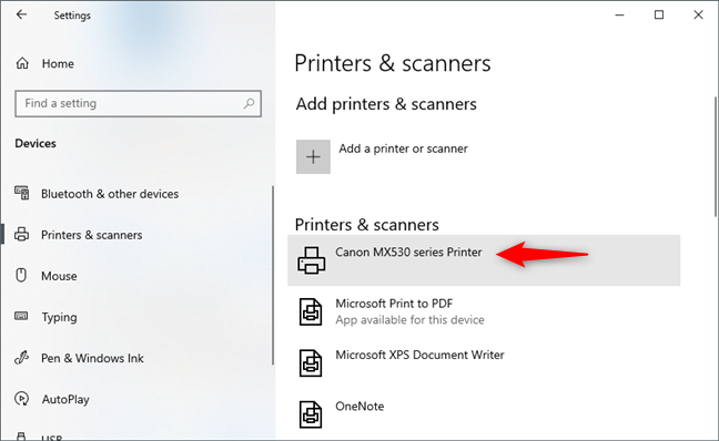 Select the printer to share