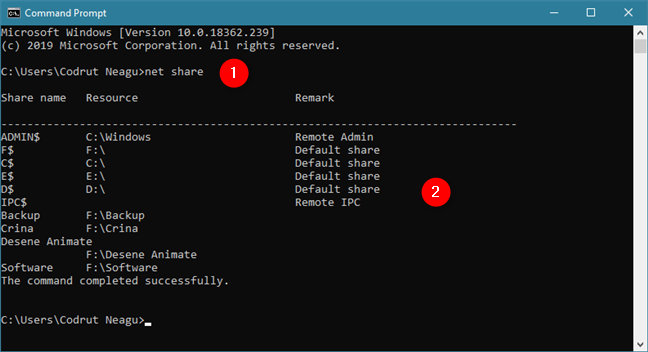 The net share command displays the list of shared folders