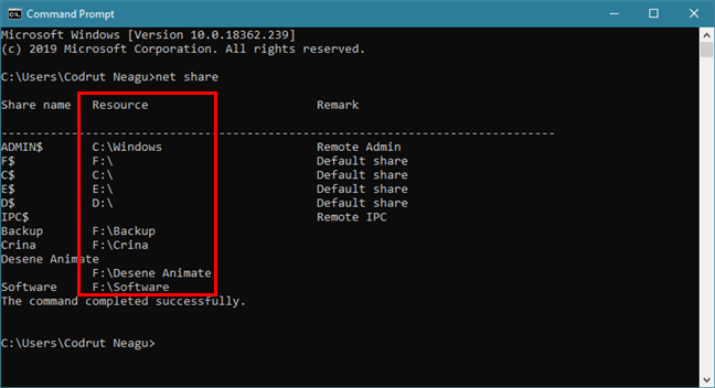 The net share command tells you the path of each shared folder