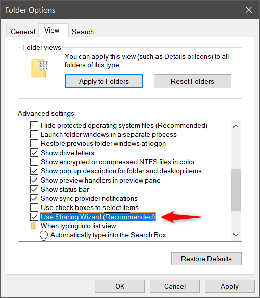 Use Sharing Wizard in File Explorer