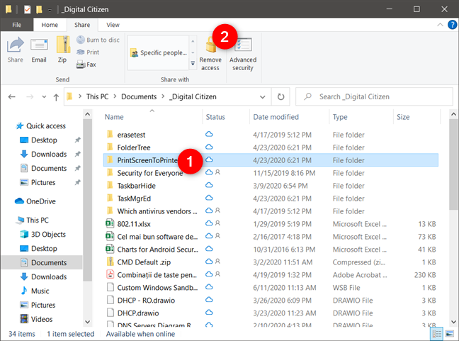 Using File Explorer to stop sharing items
