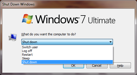The Shut Down Windows menu in Windows 7