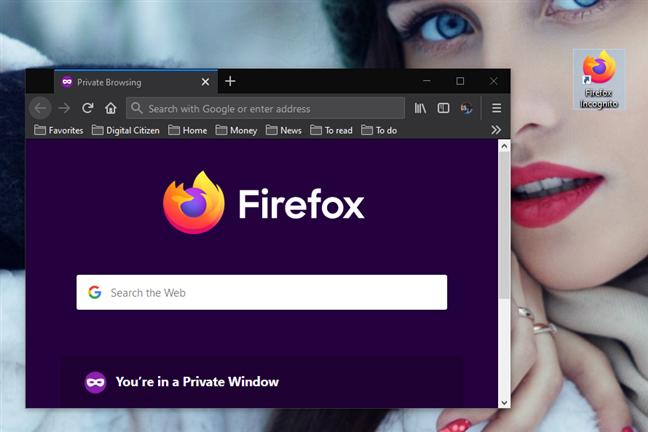 Un acceso directo del navegador con un parámetro para iniciarlo en modo incógnito