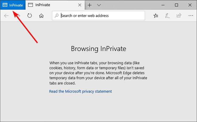 InPrivate window in Microsoft Edge