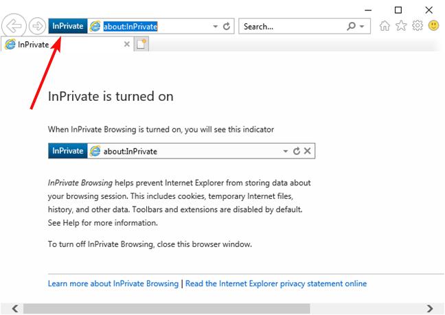 InPrivate window in Internet Explorer