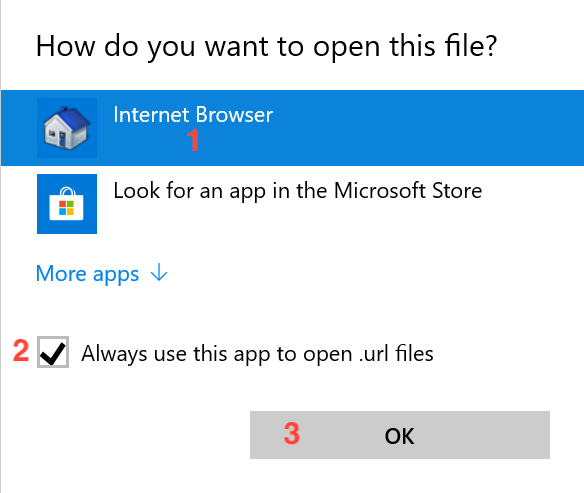 Windows 10 needs specific instructions on handling .url files