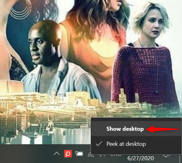 Press Show desktop in the contextual menu