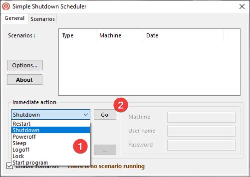Immediate action in Simple Shutdown Scheduler