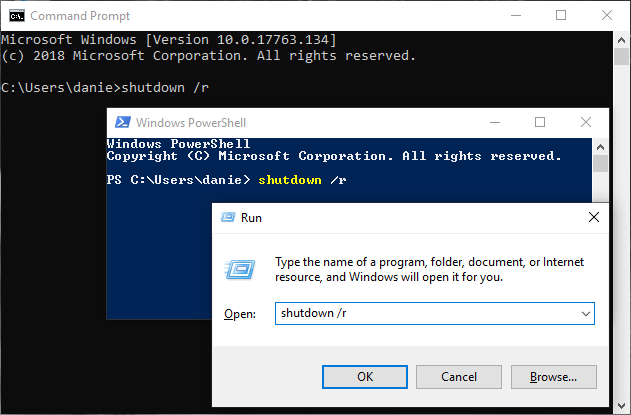 Restart Windows 10 using the shutdown command