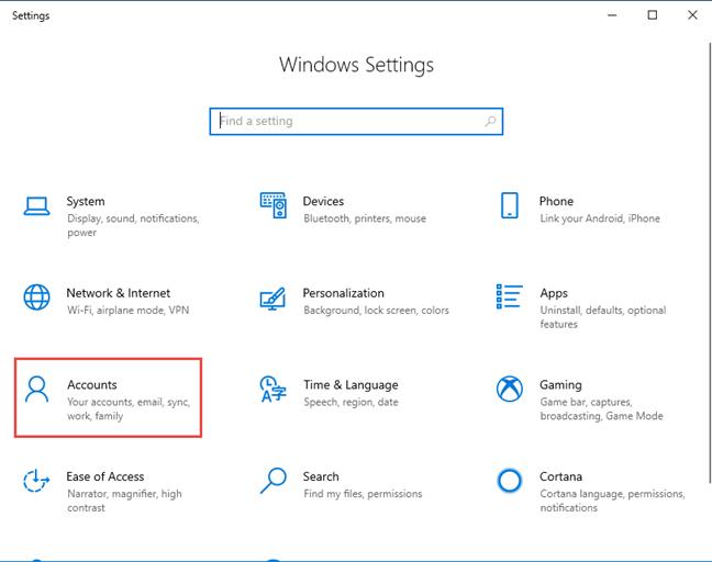 Windows 10 Settings - Go to Accounts