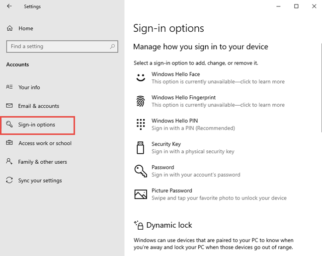 Access the Sign-in options