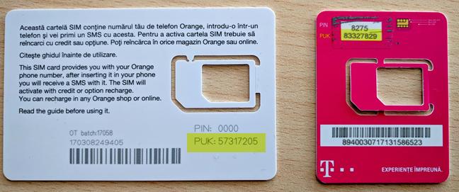 The SIM PIN and PUK codes