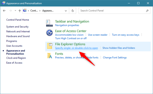 Specify single- or double-click to open under File Explorer Options