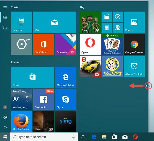 Windows 10, Start Menu, single column