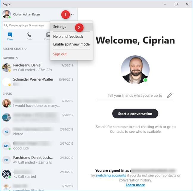 Accessing Skype's settings in Windows 10