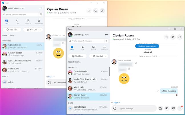 Skype from the Microsoft Store running alongside Skype from the Microsoft website