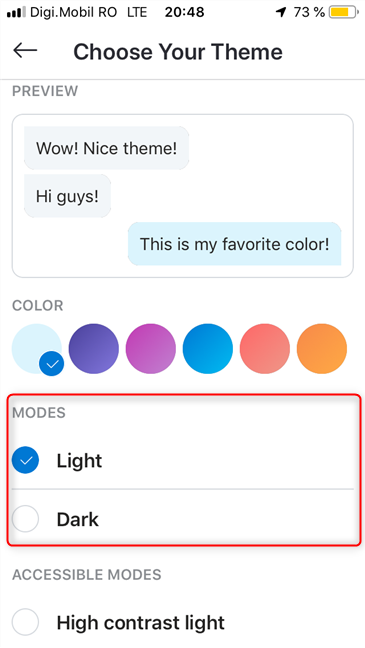 Choose the Skype theme