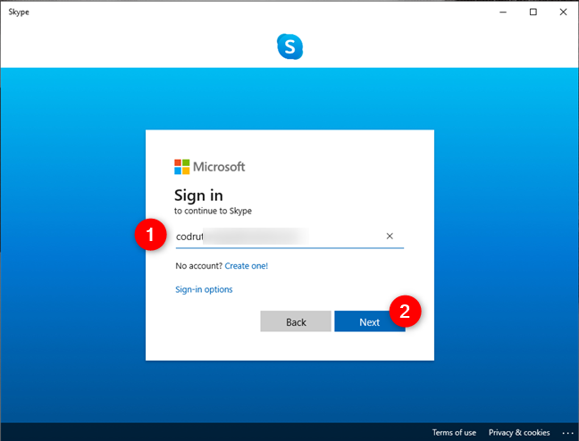 Signing into Skype using a Microsoft account