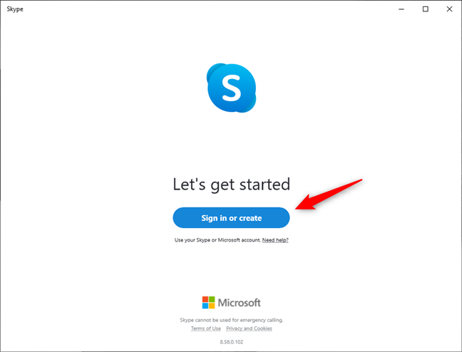Sign in or create an account in Skype