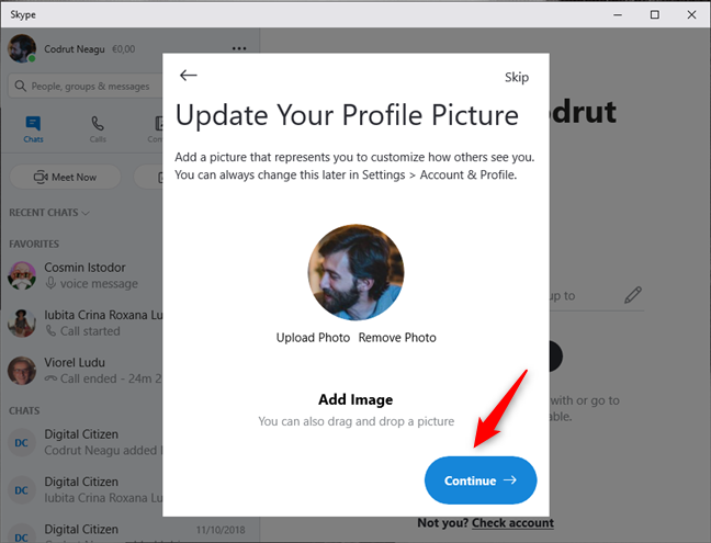 Update your profile picture in Skype