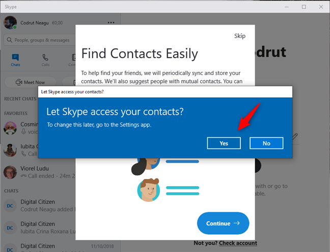Let Skype access your contacts