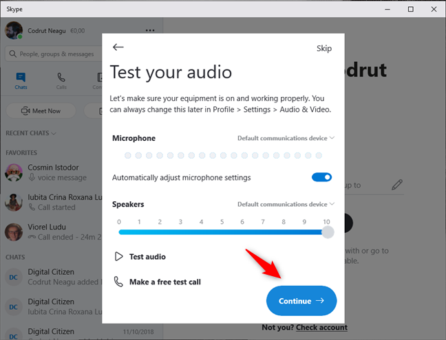 Skype tests the audio devices