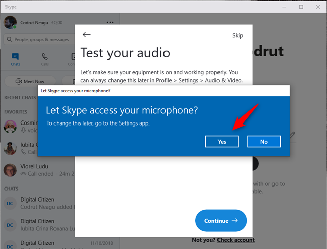 Let Skype access your microphone