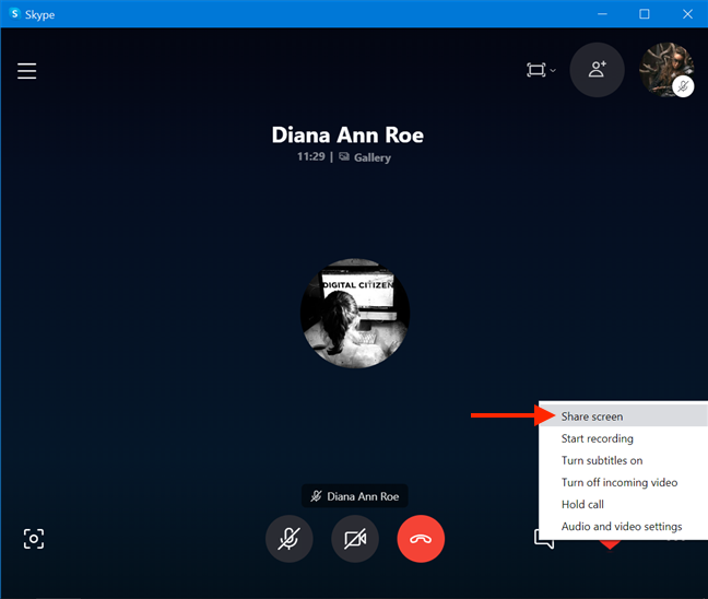 The Share screen option during a Skype call