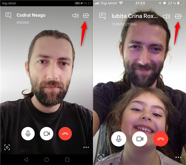 Switching the camera used by Skype on your smartphone