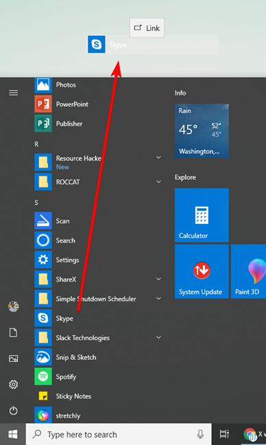 Create a shortcut for the Skype app