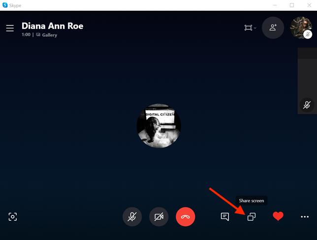Press the Share screen button