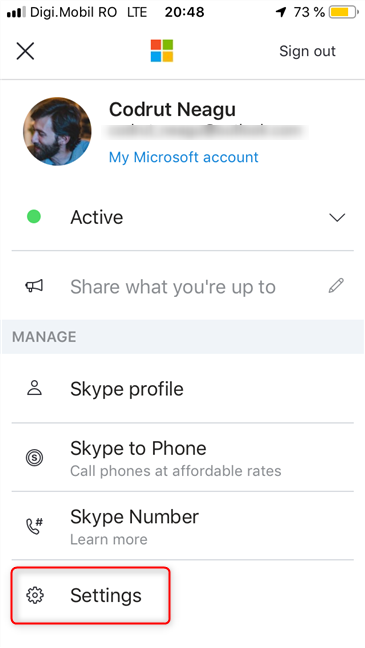 Access the Settings in Skype for iOS
