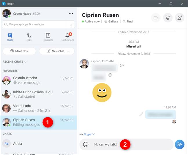 Sending a text message on Skype