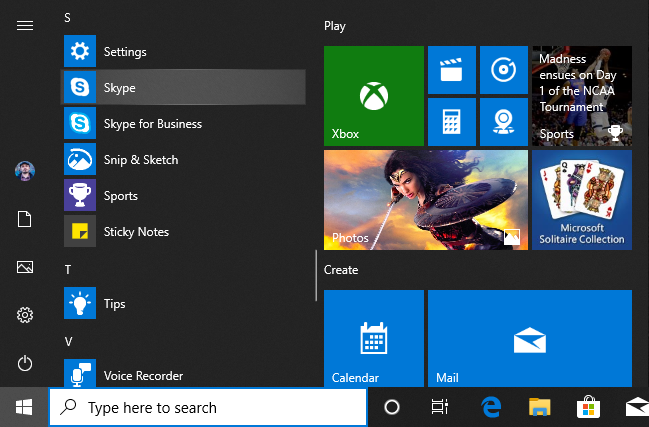 Skype in the Windows 10 Start Menu