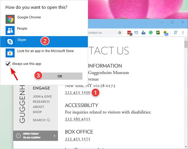 Making a phone call using Skype in Windows 10