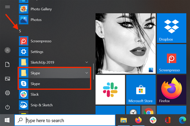 The Skype shortcut and folder in the Start Menu