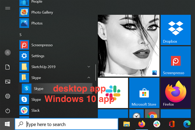 The icons for the desktop and UWP app